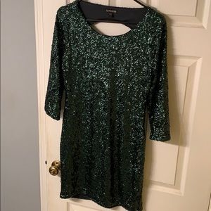 Express green sequin dress
